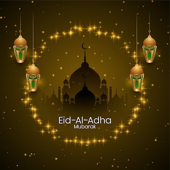 Islamski festiwal eid al adha mubarak błyszczy gwiazdki kartkę z życzeniami