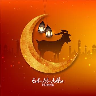 Islamski festiwal eid al adha mubarak w tle z księżycem