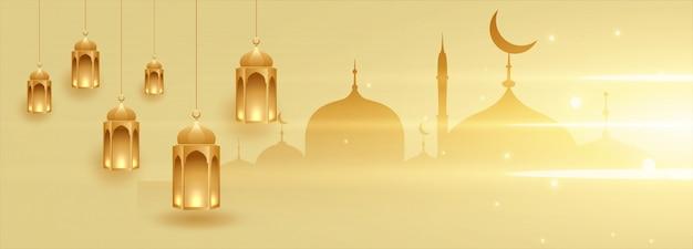 Islamski festiwal eid lub ramadan kareem projekt transparentu