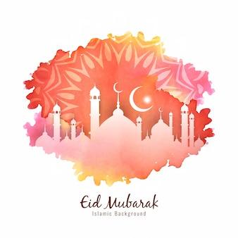Islamski festiwal eid mubarak kolorowe tło