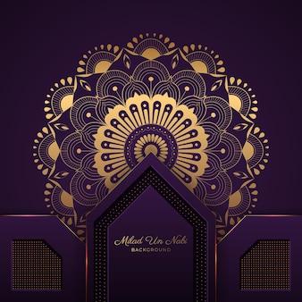 Islamski festiwal milad un nabi mandala tło
