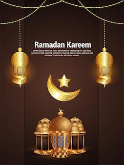 Islamski festiwal ramadan kareem celebracja ulotka z wektorową islamską złotą latarnią i księżycem