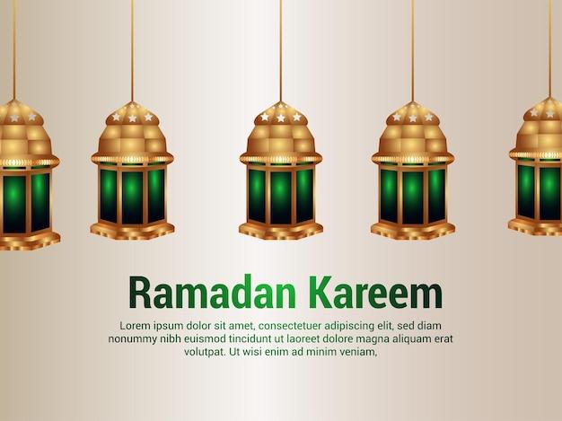 Islamski festiwal ramadan kareem realistyczna ilustracja ze złotą latarnią
