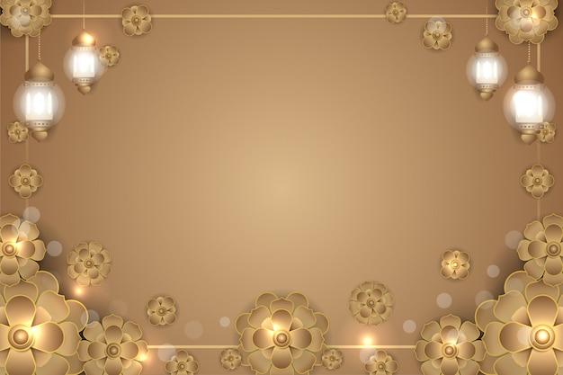Islamski mandali kwiat złote tło