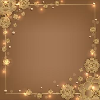 Islamski mandali kwiat złoty kwadrat tło