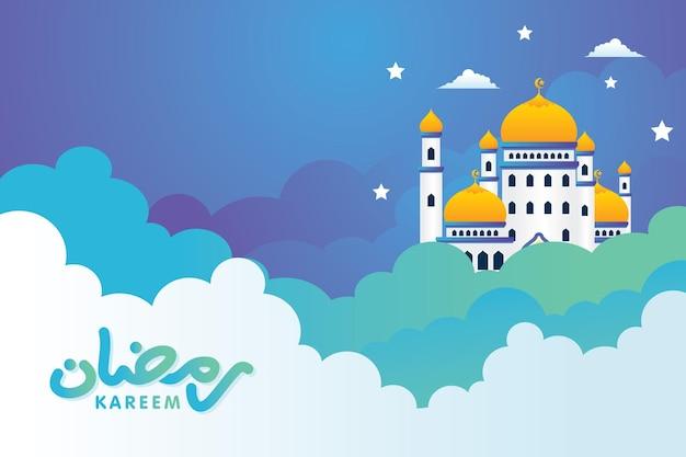 Islamski meczet ramadan mubarak na chmurze