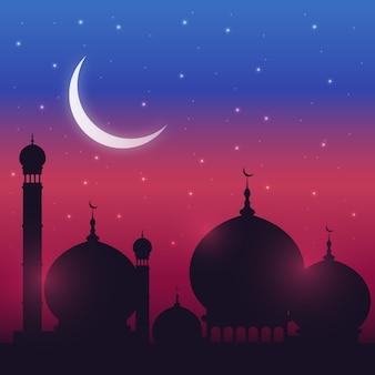 Islamski meczet w tle księżyca w nocy, ramadan kareem