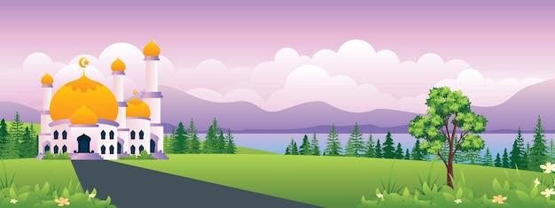 Islamski meczet z panoramiczną ilustracją krajobrazu