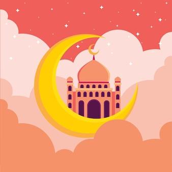 Islamski meczet z półksiężycem i niebem pełnym gwiazd płaska ilustracja hari raya aidilfitri