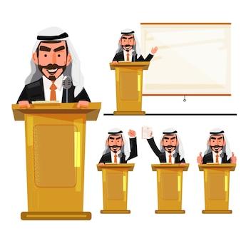 Islamski mężczyzna na podium polityk w akcjach