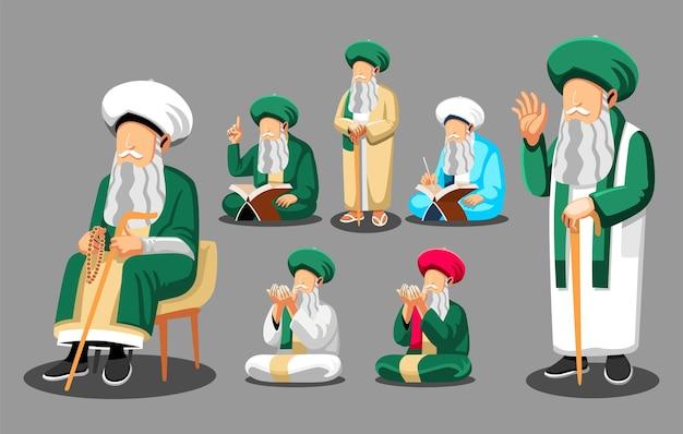 Islamski mistyczny przywódca sufizmu, religii islamskiej, módlcie się do boga, czytając świętą księgę koran.