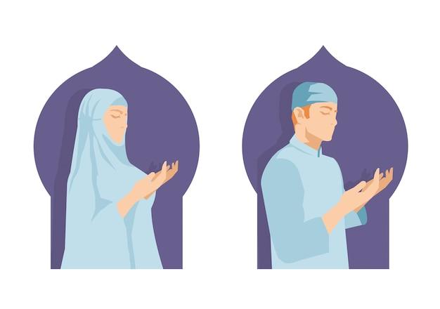 Islamski modlitwa mężczyzna i kobieta w ramadan festiwalu