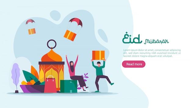 Islamski projekt ilustracja koncepcja happy eid mubarak lub ramadan pozdrowienia z charakterem ludzi.