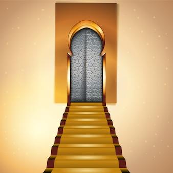 Islamski projekt meczet wnętrze dla powitania tła