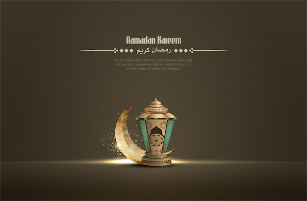 Islamski projekt pozdrowienia dla ramadanu kareem ze złotą latarnią i półksiężycem