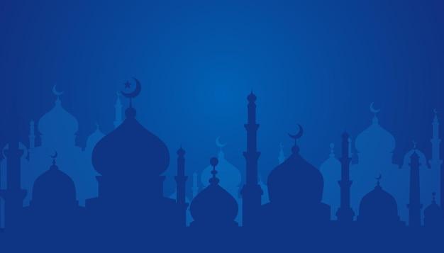 Islamski projekt tła z ilustracji sylwetka meczetu. może być używany na kartkę z życzeniami, tło lub baner.
