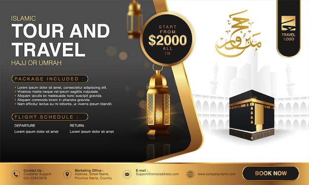 Islamski ramadan hajj & umrah broszura lub szablon ulotki projekt tła z modlącymi się rękami i mekką ilustracja w realistycznym projekcie 3d.