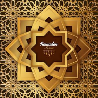 Islamski ramadan kareem projekt abstrakcjonistyczna mandala z deseniową ilustracją