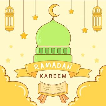 Islamski ramadan kareem tło premium