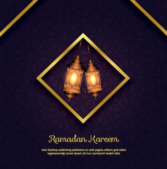 Islamski ramadan kareem tło z lampami
