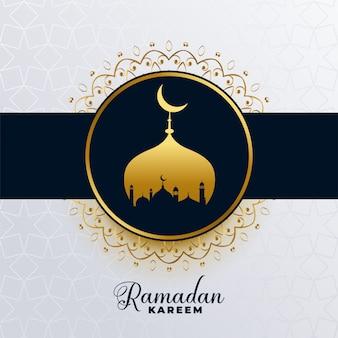 Islamski ramadan kareem złoty meczetowy tło