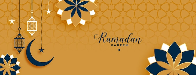 Islamski styl ramadan kareem i ozdobny baner eid