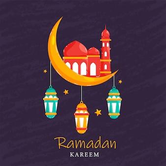 Islamski święty miesiąc koncepcji ramadan z wiszącymi lampionami, meczetem na półksiężycu i gwiazdami na fioletowym tle.