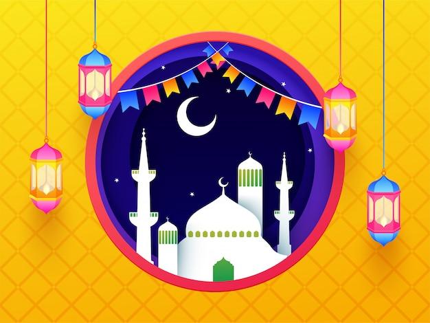 Islamski święty miesiąc postu, sztandar świętowania ramadanu lub poz