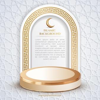Islamski szablon mediów społecznościowych po białym tle patern i luksusowym złotym podium 3d