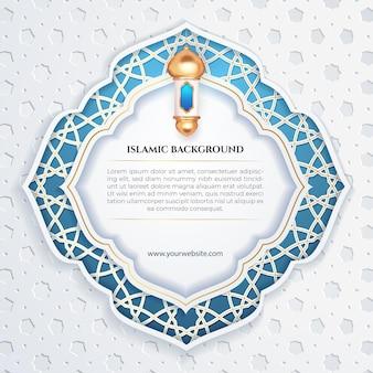 Islamski szablon mediów społecznościowych post biały patern latern księżyc i niebieskie tło