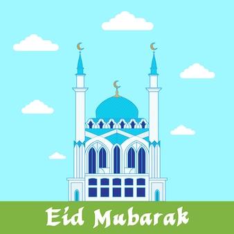 Islamski sztandar z ilustracją meczetu. tło wektor. eid mubarak.