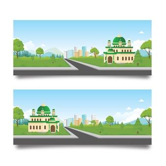 Islamski sztandar z meczetem i naturalnym krajobrazem