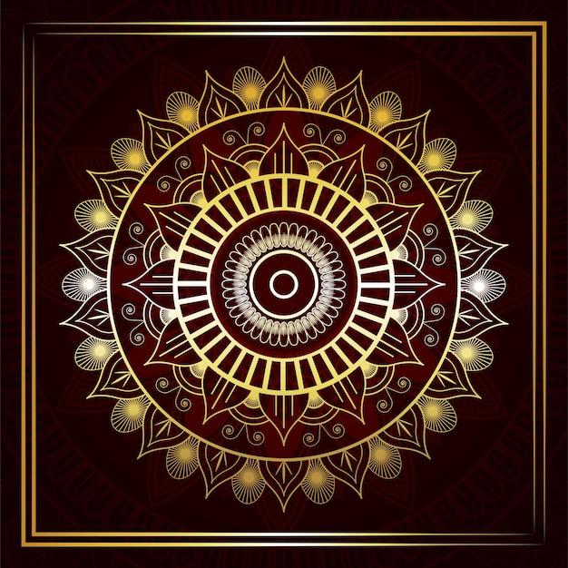 Islamski złoty luksusowy mandali w tle