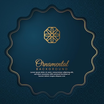 Islamskie arabskie ozdobne niebieskie luksusowe tło z dekoracyjnym ornamentem i wzorem w stylu arabskim