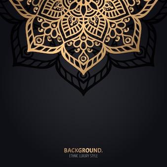 Islamskie czarne tło z dekoracją złotej mandali