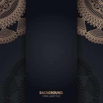 Islamskie czarne tło ze złotymi kręgami geometrycznej mandali