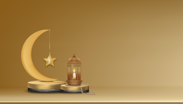 Islamskie podium 3d z różowym złotym półksiężycem, tradycyjna islamska latarnia, różaniec, świeca.