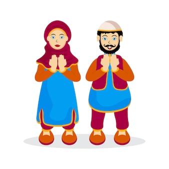 Islamskie postacie ludzi. mężczyzna i kobieta modlą się do allaha w święty miesiąc ramadan kareem.