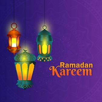 Islamskie powitanie ramadan kareem tło
