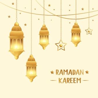 Islamskie pozdrowienia projekt karty ramadan kareem premium wektorów