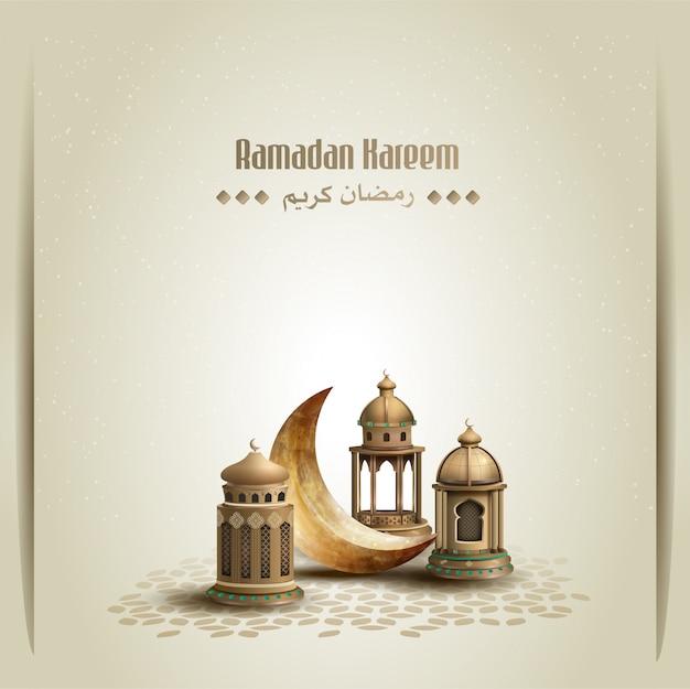 Islamskie pozdrowienia projekt karty ramadan kareem ze złotymi latarniami i półksiężycem