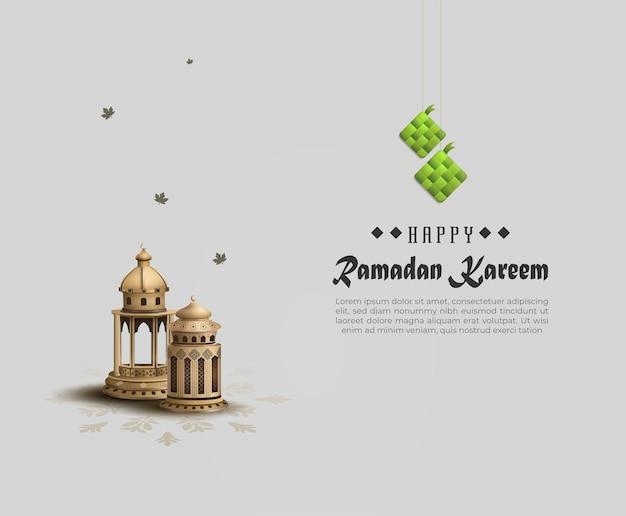 Islamskie pozdrowienia ramadan kareem design z dwoma złotymi lampionami