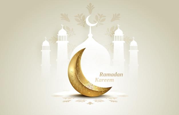 Islamskie pozdrowienia ramadan kareem karty z tłem półksiężyca i meczetu