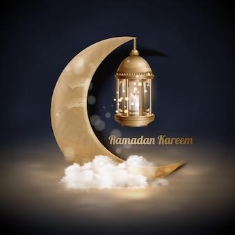 Islamskie pozdrowienia ramadan kareem w tle ze złotymi latarniami i półksiężycem