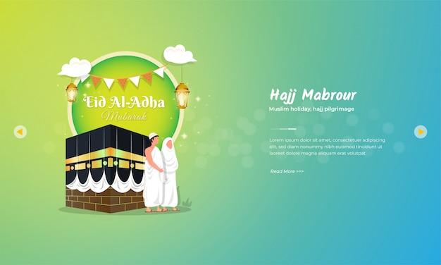 Islamskie święto eid al adha mubarak z koncepcją hadżdż mabrour