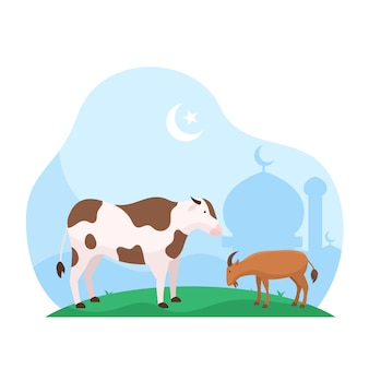 Islamskie święto eid al adha poświęcenie ilustracji zwierząt gospodarskich