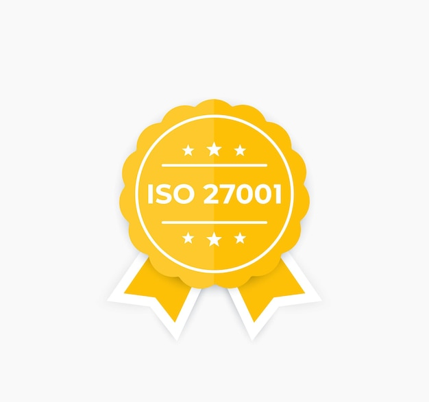 Iso 27001, norma bezpieczeństwa informacji, odznaka.
