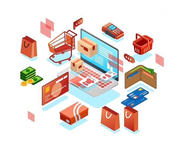 Isometric 3d ikona online zakupy system z laptopem, portflem, tramwajem, pieniądze, kartą i innym online zakupy ilustraci wektorem