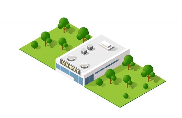 Isometric 3d krajobrazowy odgórnego widoku budynek nowożytny