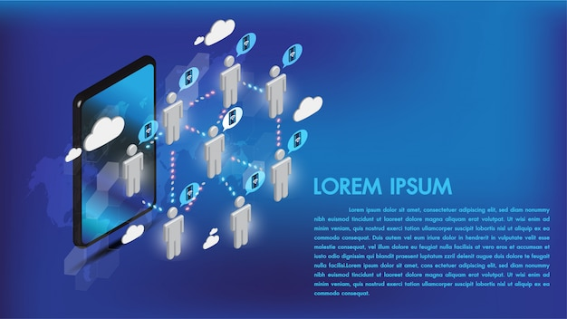 Isometric 3d smartphone internet łączy ogólnospołecznych środki z ludźmi i dane przekazem na chmurze